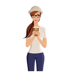 Woman coffee cup portrait vector
