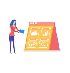 woman working on statistics screen with info vector image
