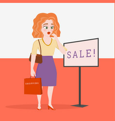 Young female shopper shocked sale vector