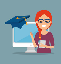 Young woman with computer education online vector
