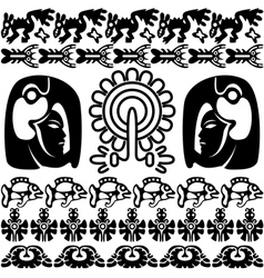 Ancient America set with patterns small vector image