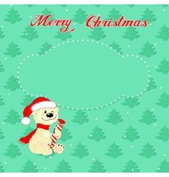 Christmas card with little polar bear vector image