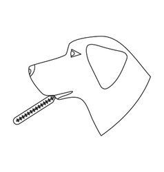 Dog with thermometer icon in outline style vector