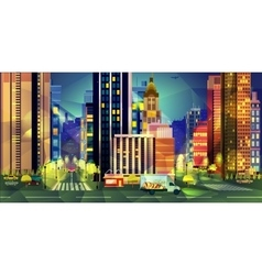 Night city low poly style vector image vector image