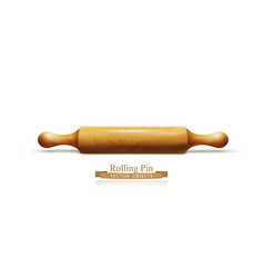 object wooden rolling pin isolated on white vector image vector image