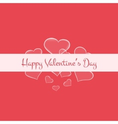 Valentines card with glowing hearts and white vector image vector image