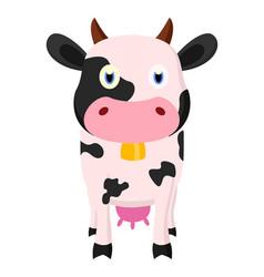 cute cow cartoon standing vector image vector image