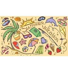Doodle set of summer vacation vector image vector image