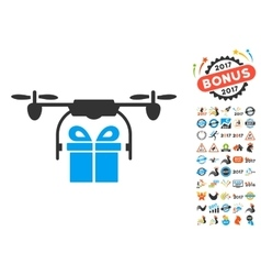 Drone Gift Delivery Icon With 2017 Year Bonus vector image vector image