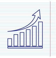 growing graph sign navy line icon on vector image vector image