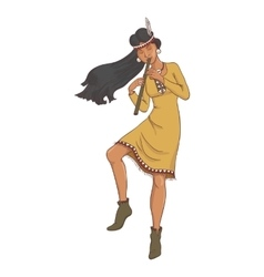 native american indian woman in traditional vector image