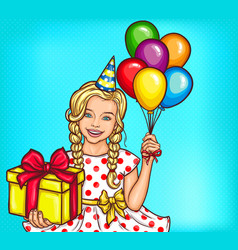 pop art smiling little girl holding a gift vector image vector image