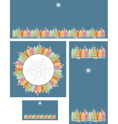 Set of Christmas cards with snowy old town vector image vector image