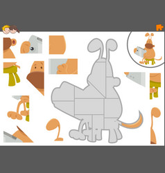 jigsaw puzzle game with dog and tablet vector image vector image