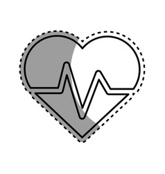 silhouette heartbeat cardio vital sign vector image