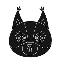 squirrel muzzle icon in black style isolated on vector image