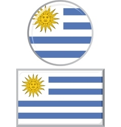 Uruguayan round and square icon flag vector image vector image