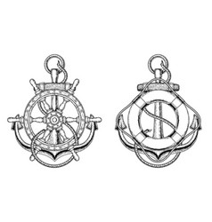 anchors with a wooden ship steering wheel vector image