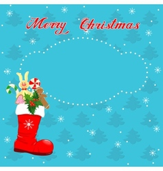 Christmas card with Red boot vector image