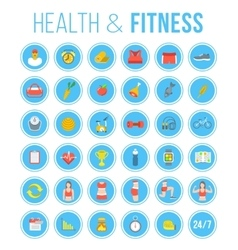 Fitness gym and healthy lifestyle flat round vector image vector image