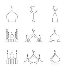 Line arabic dome of mosque set vector image vector image