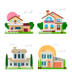 residential houses with gardens colorful set on vector image vector image