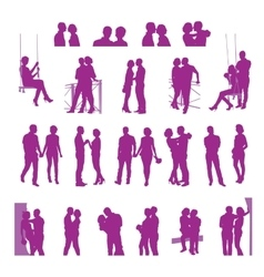 Romantic date silhouettes vector image