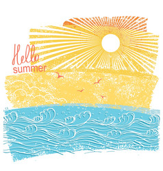sea waves and sun of sea landscape vector image vector image
