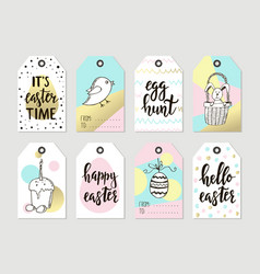 set with happy easter gift tags and cards with vector image