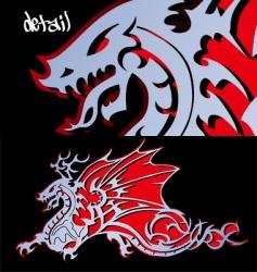 Steel dragon cutout vector