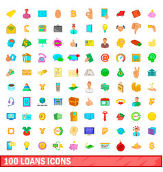 100 loans icons set cartoon style vector