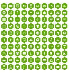 100 playground icons hexagon green vector