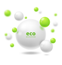 3d spheres abstract background ecology or eco vector