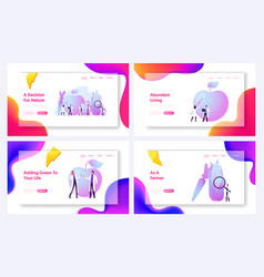 Agricultural genetics landing page template set vector