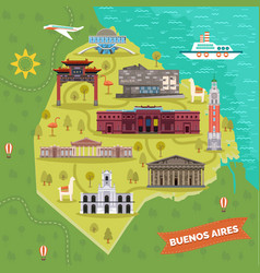 argentina capital buenos aires map with landmarks vector image