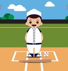 Baseball field baseball player vector image