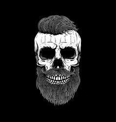 Bearded skull on dark background design element vector