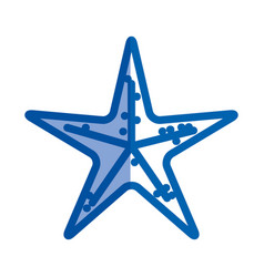Blue shading silhouette of sea starfish vector