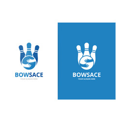 bowling and hands logo combination game vector image