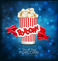 Box with popcorn on a blue background with a brigh vector