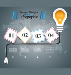 bulb light - paper business infographic vector image