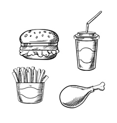 Burger french fries chicken leg and soda cup vector