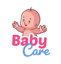 Cute toddler Baby care logo vector image