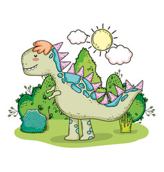 cute tyrannosaurus rex in the landscape vector image