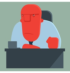 Dissatisfied boss sits at a table vector
