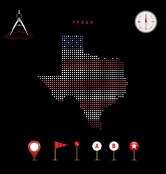 Dotted map texas painted in american flag vector