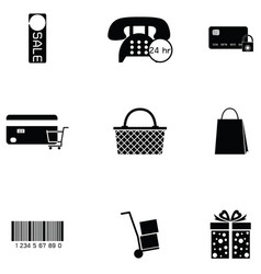 e-shopping icon set vector image