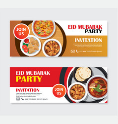 Eid mubarak party invitations greeting card and vector