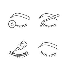 Eyelash extension linear icons set vector
