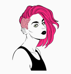 Fashionable female haircut punk or hipster vector